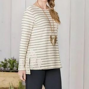 NEW MATILDA JANE With a Twist Striped Lace Top